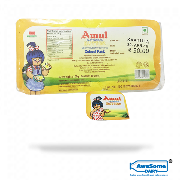 Amul Butter Online - School Pack 100g | Awesome Dairy Mumbai