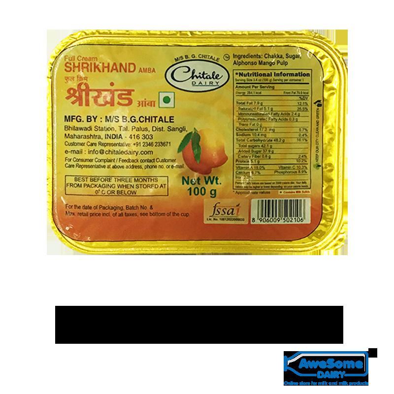 chitale amrakhand,Chitale Mango Shrikhand ( Amba) 100gm Online On Awesome Dairy