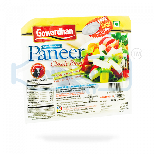 Buy Fresh Paneer Block 200gm by Gowardhan Online - Awesome Dairy