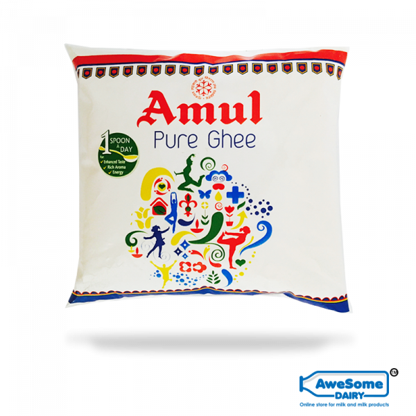 Pure Cow Ghee Online - 500ml Amul Ghee Pouch on Awesome Dairy