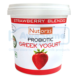yogurt online,greek yogurt,Nutoras-strawberry-greek--yogurt-125gm_front-Awesomedairy,buy yogurt, yogurt online shopping,greek yogurt india